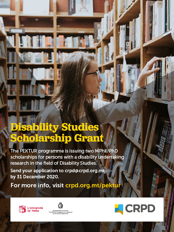 Poster: Disability Studies Scholarship Grant (Young woman in a library)