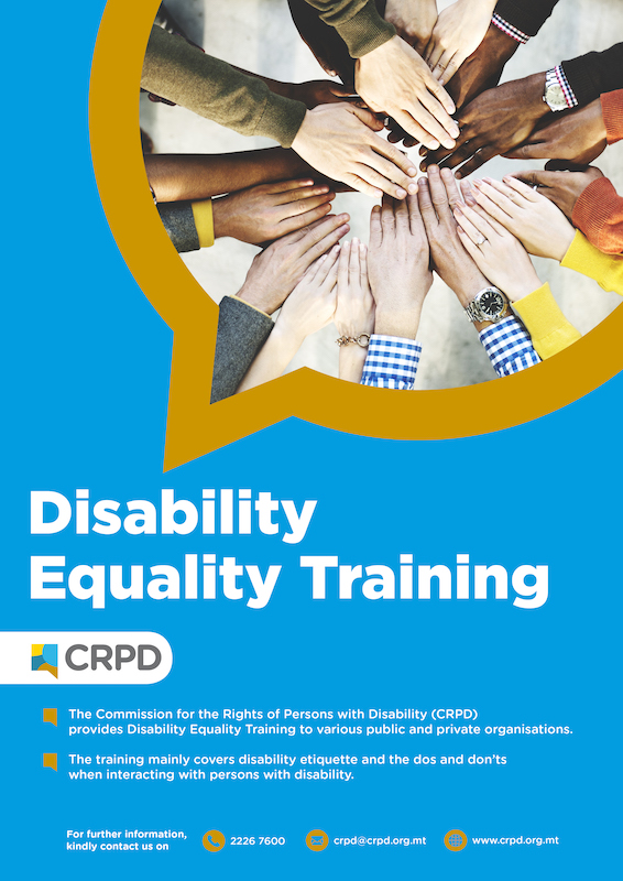 Poster: Disability Equality Training (showing many hands in a circle on top of each other)
