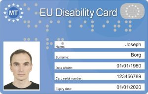 Image of an EU Disability Card (front)