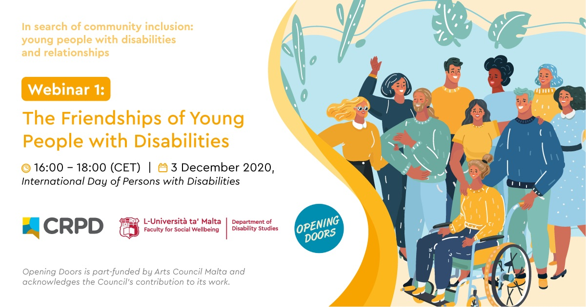 Poster of Webinar 1 - The friendships of Young People with Disabilities