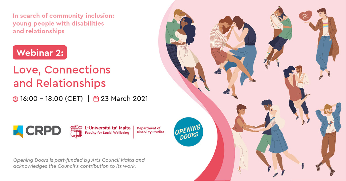 Poster of Webinar 2: Love, Connections and Relationships, 23rd March at 4pm, including picture of people socialising