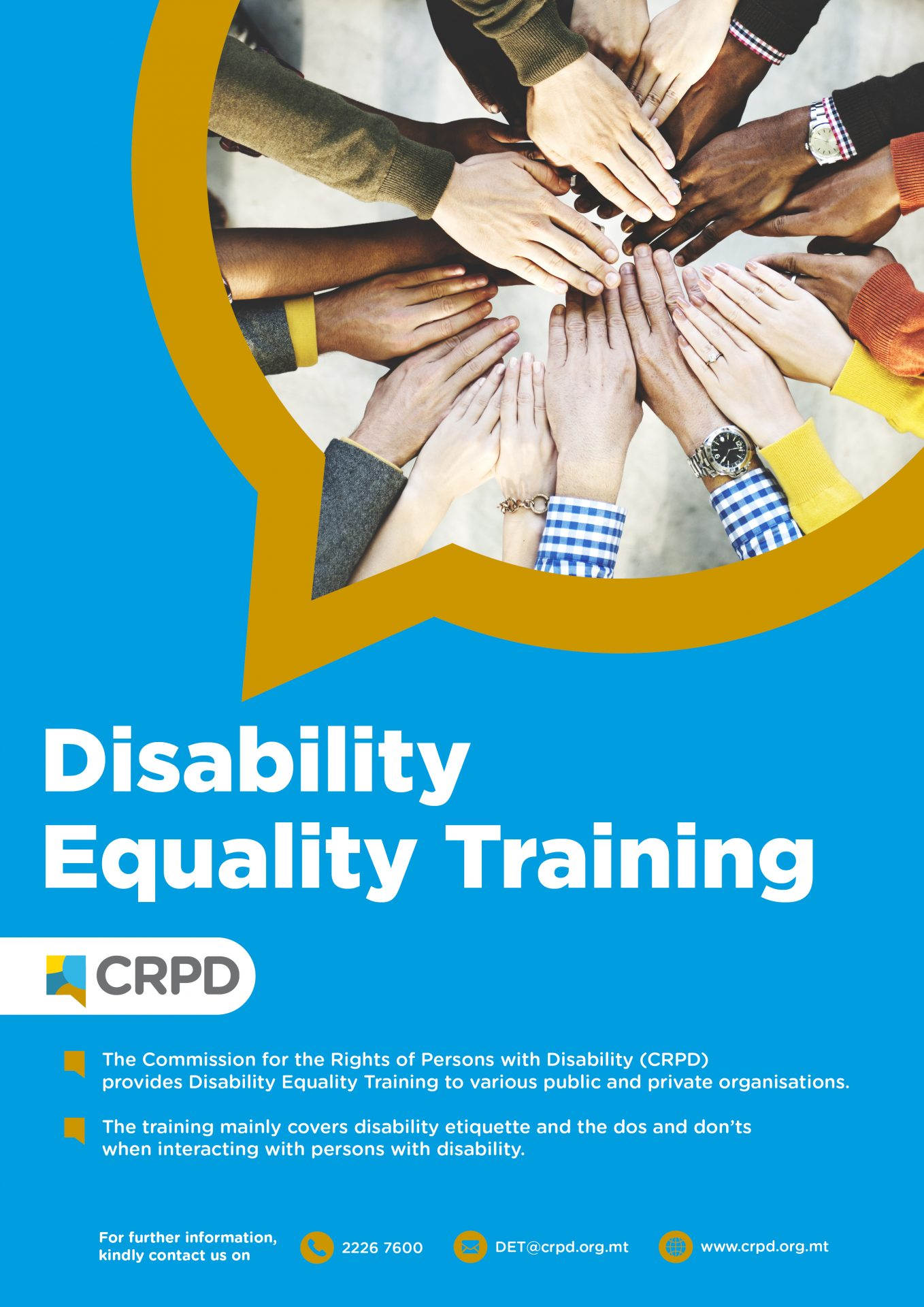 Disability Equality Training Poster - Photo of hands on top of each other