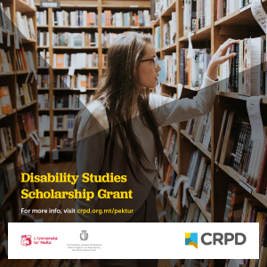 Young woman looking at books in a library. Poster of Disability Studies Scholarship Grant.