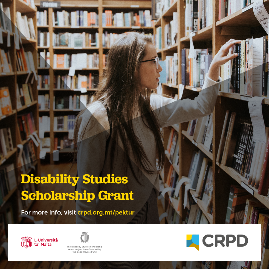 Disability Studies Scholarship Grant Poster (photo of young lady in a library)